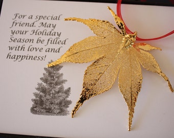 Gold Maple Leaf Ornament, Real Japanese Maple Leaf, Extra Large, Ornament Gift, Christmas Card, Happy Holiday Gift, First Christmas, ORNA85