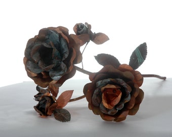hand crafted rose branch with blossoms