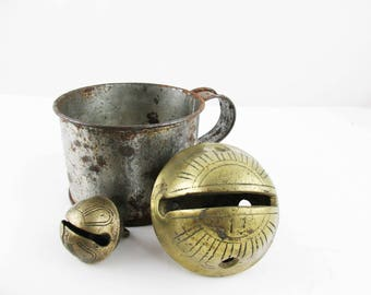 Classic Rusted Tin Cup With Two Brass Petal Bells - Vintage Brass 'Petal' or 'Horseshoe' Sleigh Bell - No. 3 and 13 Bells - Holiday Decor