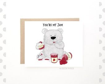 You're my jam - Bear Greeting Card - Cute Bear Card - Funny Card - Cute Card - Boyfriend Card - Recycled Paper - Blank Inside