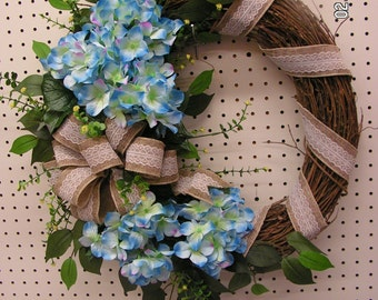 Blue Hydrangea Lace Burlap Grapevine Everyday Neutral Spring Wreath Personalized Monogram