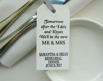 Wedding Rehearsal Table Decor-Rehearsal Dinner Favors-Tomorrow After the I Do's-Elegant White Tags-Rehearsal Dinner-Rehearsal Dinner Ideas