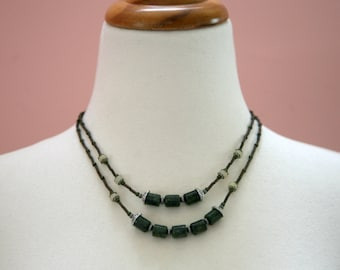 Dark Green and Lemon Yellow Two Strand BOHO Style Necklace
