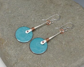 Sapphire Blue Enamel and Mixed Metal Earrings Sterling Silver Copper Modern Jewelry