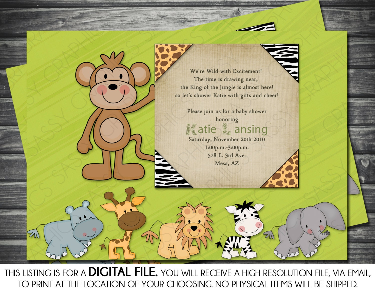 Boy Baby Shower Invitation Safari Theme Monkey Elephant