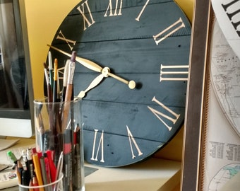 "Art.03. 28""/72cm Navy blue wall clock. Large wall clock. Farmhouse decor. Wall art. Rustic home decor. Clocks"