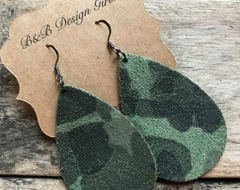 Coco Teardrop Fall Camouflage Leather Earrings