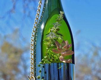 Sale- Wine Bottle Planter / Hanging Succulent Planter / Hanging Plants / Wine Gifts / Hanging Planter Hanging Terrarium / Glass Bottle Decor