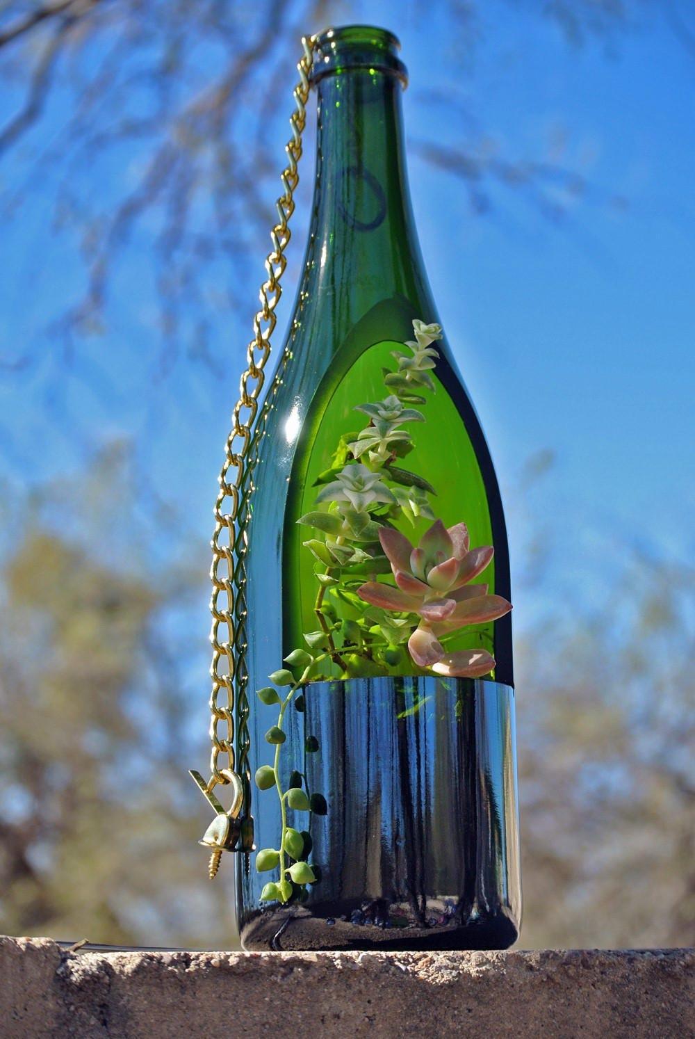 Sale Wine Bottle Planter / Hanging Succulent Planter /