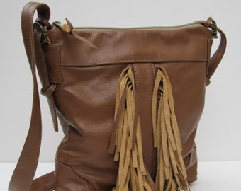 On Sale LEATHER SHOULDER BAG by Elizabeth Z Mow  Palomino With Fringe