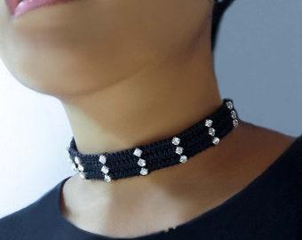 Choker Necklace,  Rhinestone Necklace, Goth Choker