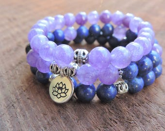 Amethyst Lapis Lazuli Stack Bracelet, Pain Chakra Bracelet, Healing Meditation Bracelet, Yoga Bracelet, Crown Chakra Bracelet