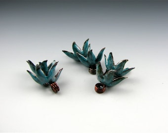 Enameled Bellflower Caps / Teal Enamel / Made to order