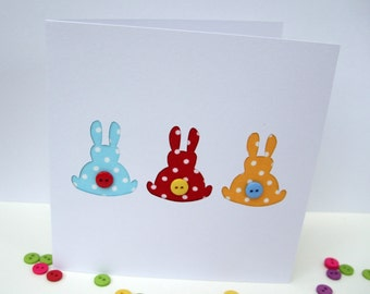 3 Little Dotty Bunnies Card - Rabbit Card, Easter Bunny Card with Button Tails, Paper Cut Handmade Greeting Card