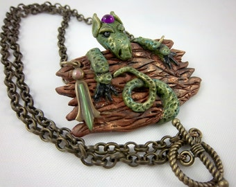 Dragon Necklace, Fantasy Necklace, Gothic Necklace, Green Dragon, Wearable Art, Greens and Browns