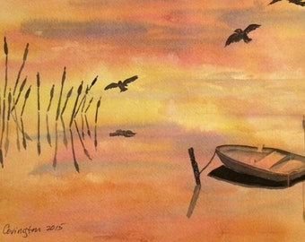 Empty Boat and Reeds Greeting Card