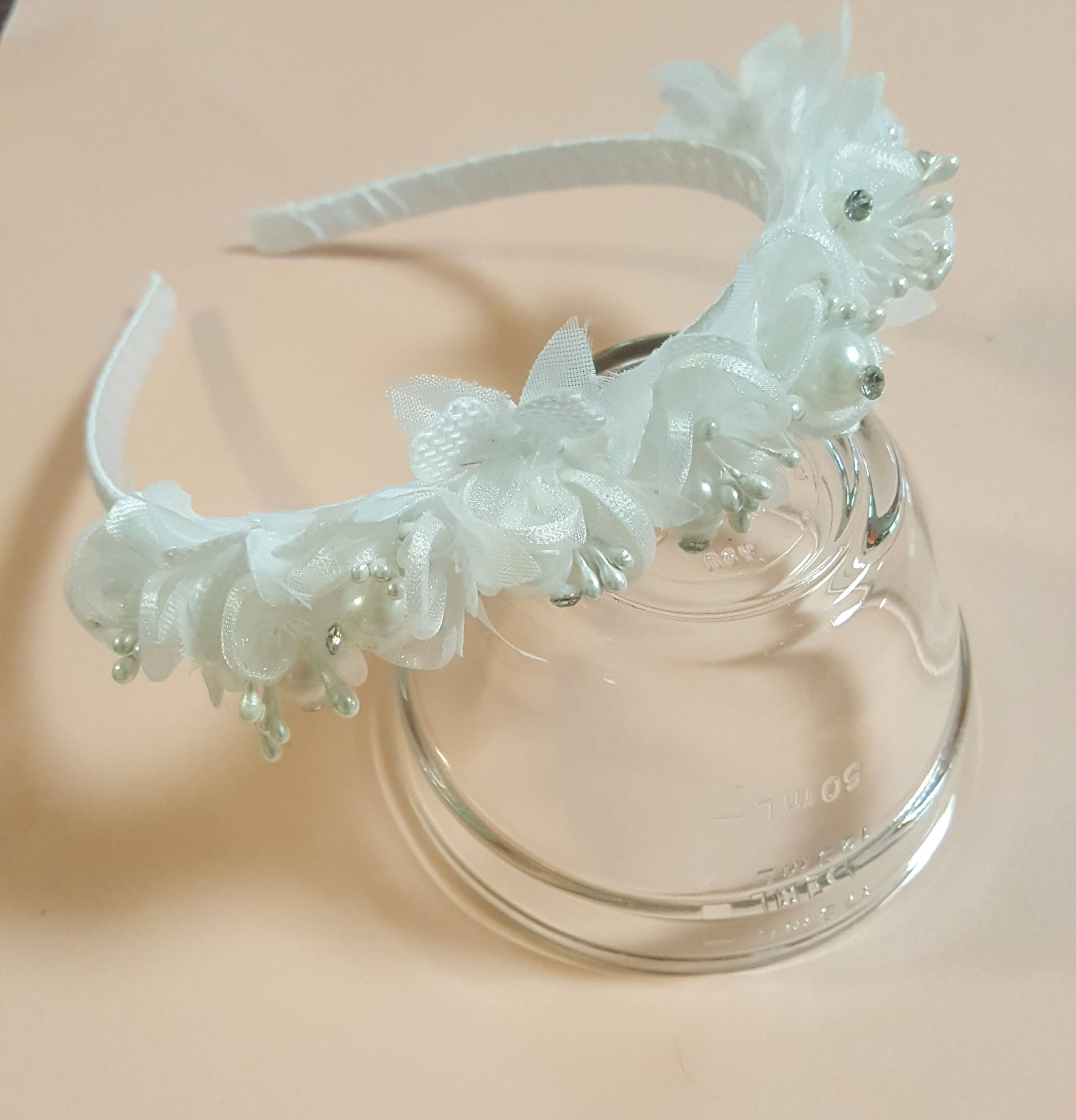 White Satin Headband With Flowers For Flower Girl Party