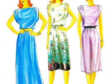 1980's Butterick Sewing Pattern 3790 of Loose Fitting Dress with Bateau Neckline and Shoulder Detail , Evening or Street Length - Bust 32