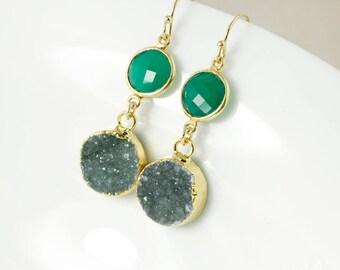 50 % de réduction vente - or Onyx vert & noir gris/vert Druzy boucles d'oreilles - remplis d'or 14Kt