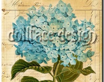 INSTANT digital DOWNLOAD French Antique Blue Flowers - Printable Collage - Scrapbooking - Gift Tag - Art Print - ACEO - Download and Print