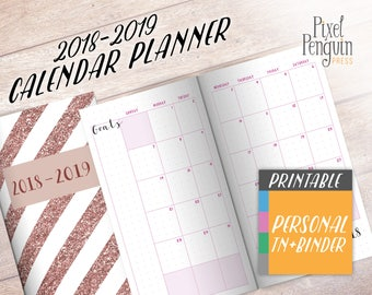2018 2019 Monthly Planner Pages, Traveler Notebook Insert Printable, Personal Size, Bullet Journal Insert, Monthly Agenda, Student Planner