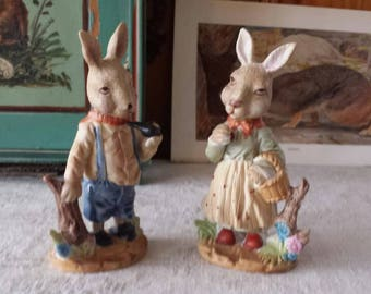 Vintage couple Easter hares