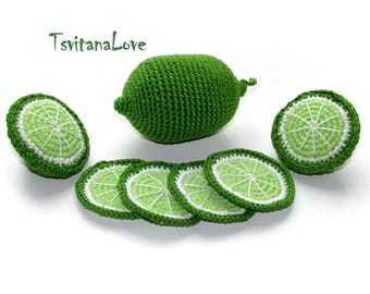 Crochet Fruit - lime slice (6 pcs) kitchen play set - play kitchen - tea party toy set - toy fruit - pretend food - Play food Waldorf Gift