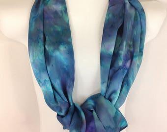 Blue Silk Scarf, Aqua Silk Scarf, Purple, Green, Silk Scarves, Hand Painted Silk Scarf, Silk Satin, Original Art, Abstract Flowers, Floral