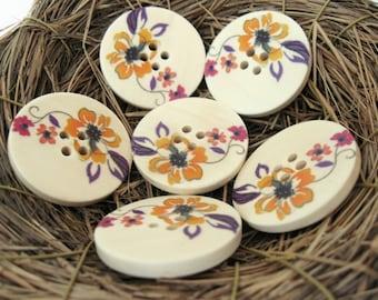 Bouton de bois avec motif de fleur de 3cm - ensemble de 6 boutons en bois naturel