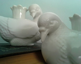 Pair of White Dove China Candleholders