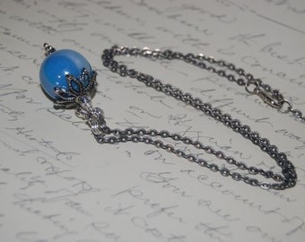 Blue Pearl Ceramic Ball Vintage Style Necklace