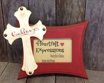 """Christmas Picture Frame """"Believe"""" Rustic Distressed"""