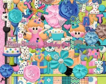30%Off Birthday Party  Digital Scrapbooking Kit,Birthday Boy Cliparts,Birthday Girl Cliparts