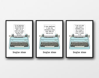 Set of 3 Unframed Douglas Adams Quotes - Gift Idea for Hitchhikers Guide to the Galaxy Fans