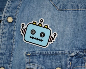 cool robot - print acrylique  laser cut pin back badge - pop art style