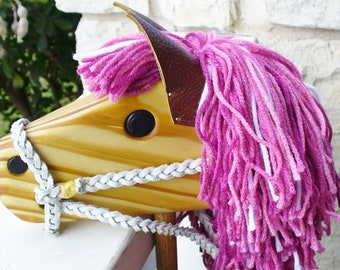 Shades of Pink Hobby Horse Toy - Wooden Stick Horse - Pony