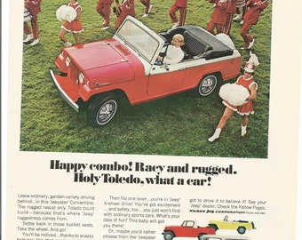 1967 Advertisement Jeep Jeepster Ad Red Convertible 60s Drum Corp Marching Band Majorettes Drill Team Holdy Toledo Dealership Wall Art Decor