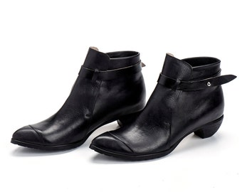 Black Leather Booties / Women Leather Shoes / Casual Leather Boots / Designer Shoes / High Heels Winter Shoes / Rock Chic Booties - Tumarkin