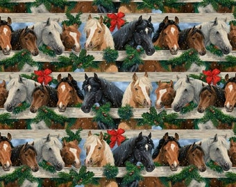 Let It Snow Horses Fabric B-9130-39 from Blank by the yard