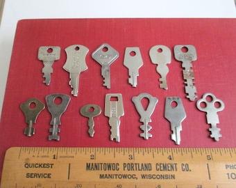 13 Flat Keys - Vintage Lot, Variety of Shapes