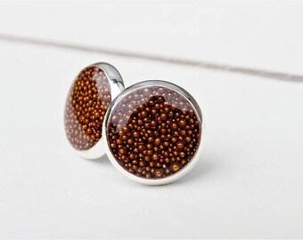 Silver Earrings, Copper Micro beads, Metallic Beaded Earrings, Resin Earring. Fall Accessory, Bronze, Jewelry, Stud Earrings, Post Earrings