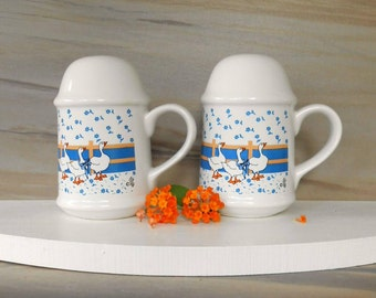 Vintage Stoneware salt and pepper shakers,country kitchen shakers  with gaggle of geese,Accent for today's home Made by Trenditions Taiwan