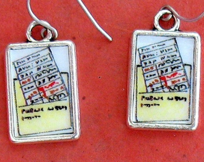 Library Check Out Card Pocket Earrings Librarian Jewelry