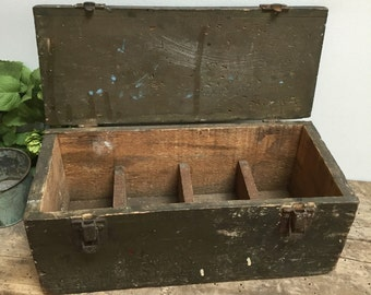 Rustic Fishing Tackle Box Toolbox Caddy Chest Primitive Handmade Shabby Cottage Chic Vintage Display Wooden Metal Handle and Closure Green