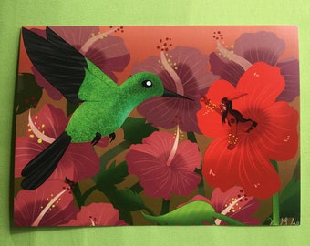 The Red Flower and Hummingbird - Print