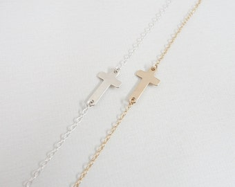 Sideways Cross Necklace - Sterling Silver - Gold Filled - Celebrity Style - Simple Everyday Jewelry
