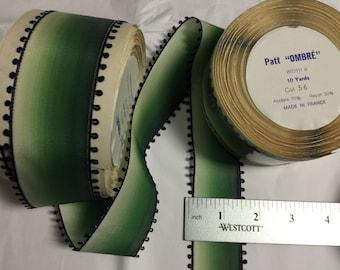 10 Yards of Vintage Picot Edge Rayon/Acetate.Narrow Picot,Picot,Picot Trim. Made in France. Green Ombre Ribbon.