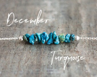 December Birthstone Necklace, Raw Turquoise Bar Necklace, Real Turquoise Jewelry, December Birthday Gift, Raw Stone Jewelry, Gift for Her