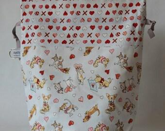 Medium drawstring knitting crochet project bag puppy love