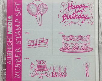 All Night Media Rubber Stamp Set Happy Birthday